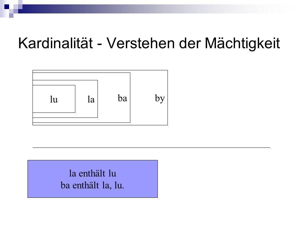 Kardinalität - Verstehen der Mächtigkeit lu la ba by la enthält lu ba enthält la, lu.