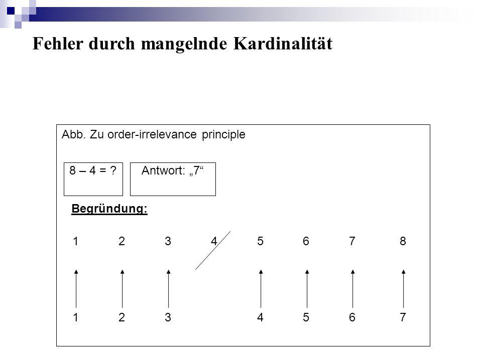 8 – 4 = ?Antwort: 7 Begründung: 12345678 1234567 Abb. Zu order-irrelevance principle Fehler durch mangelnde Kardinalität