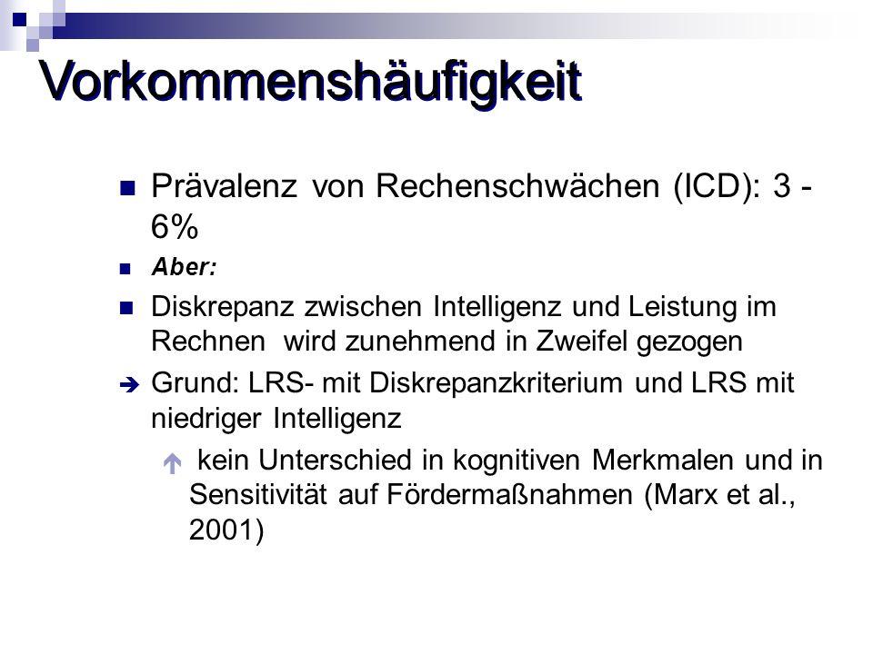 Vorkommenshäufigkeit Prävalenz von Rechenschwächen (ICD): 3 - 6% Aber: Diskrepanz zwischen Intelligenz und Leistung im Rechnen wird zunehmend in Zweif