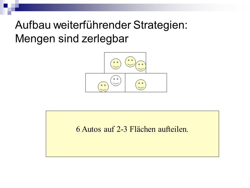 Aufbau weiterführender Strategien: Mengen sind zerlegbar 6 Autos auf 2-3 Flächen aufteilen.