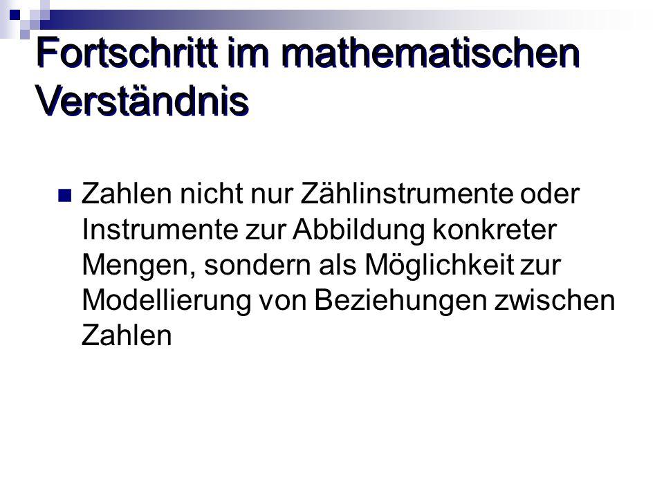 Fortschritt im mathematischen Verständnis Zahlen nicht nur Zählinstrumente oder Instrumente zur Abbildung konkreter Mengen, sondern als Möglichkeit zu