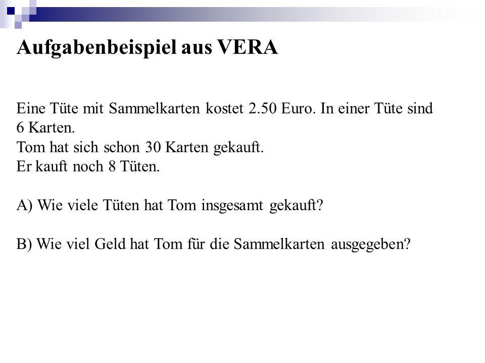 Aufgabenbeispiel aus VERA Eine Tüte mit Sammelkarten kostet 2.50 Euro. In einer Tüte sind 6 Karten. Tom hat sich schon 30 Karten gekauft. Er kauft noc