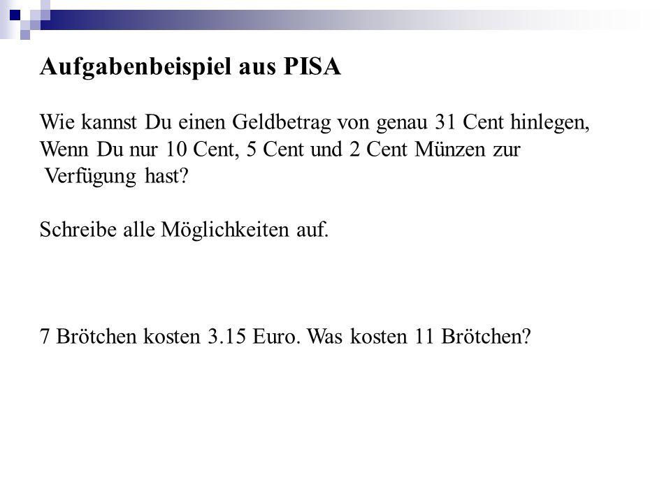 Aufgabenbeispiel aus PISA Wie kannst Du einen Geldbetrag von genau 31 Cent hinlegen, Wenn Du nur 10 Cent, 5 Cent und 2 Cent Münzen zur Verfügung hast?