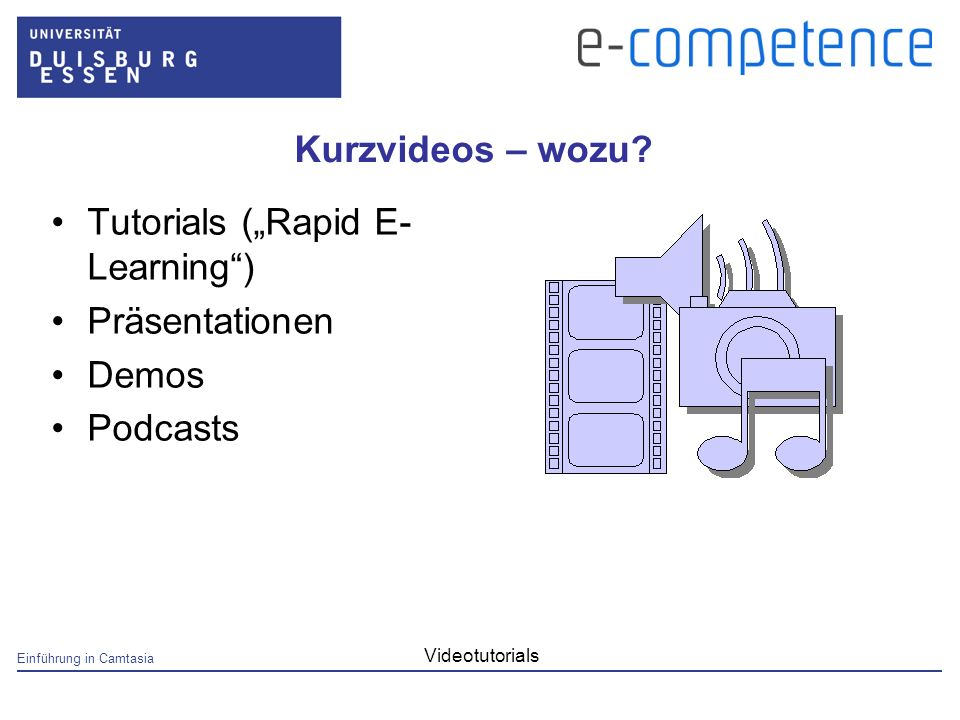 Einführung in Camtasia Videotutorials Kurzvideos – wozu? Tutorials (Rapid E- Learning) Präsentationen Demos Podcasts