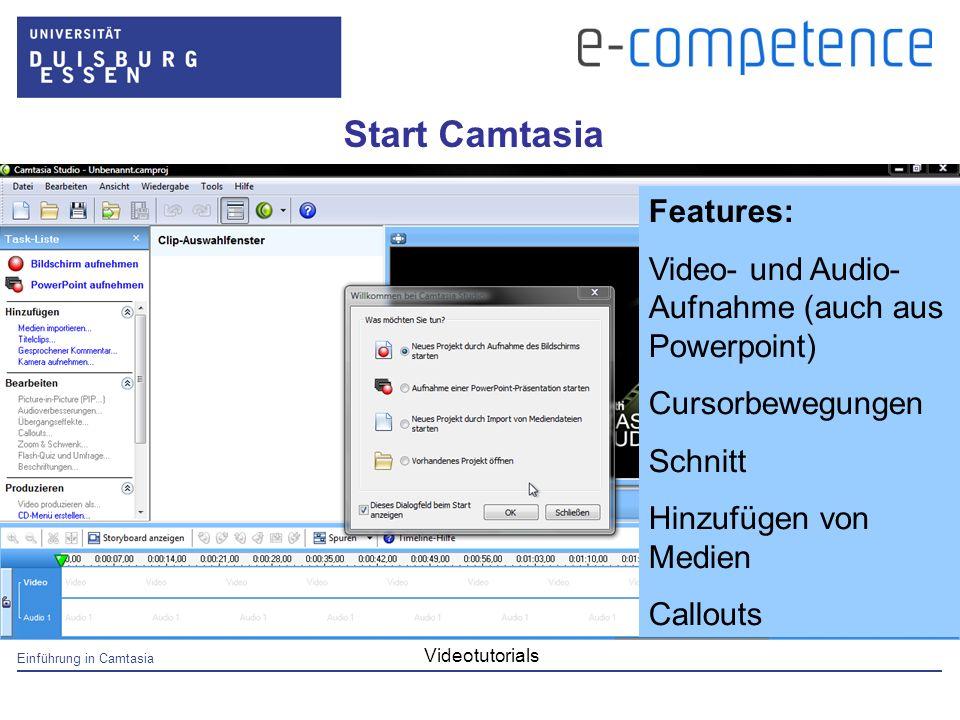 Einführung in Camtasia Videotutorials Start Camtasia Features: Video- und Audio- Aufnahme (auch aus Powerpoint) Cursorbewegungen Schnitt Hinzufügen von Medien Callouts