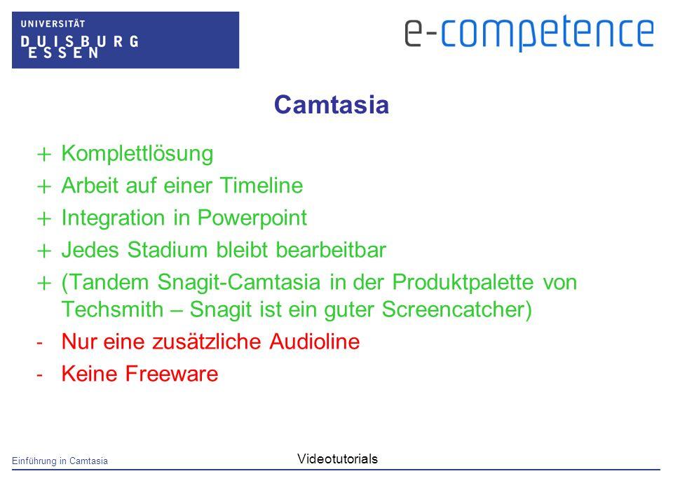 Einführung in Camtasia Videotutorials Camtasia + Komplettlösung + Arbeit auf einer Timeline + Integration in Powerpoint + Jedes Stadium bleibt bearbeitbar + (Tandem Snagit-Camtasia in der Produktpalette von Techsmith – Snagit ist ein guter Screencatcher) - Nur eine zusätzliche Audioline - Keine Freeware
