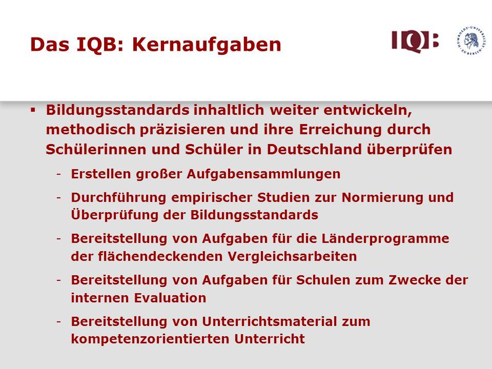 Das IQB: Kernaufgaben Bildungsstandards inhaltlich weiter entwickeln, methodisch präzisieren und ihre Erreichung durch Schülerinnen und Schüler in Deu