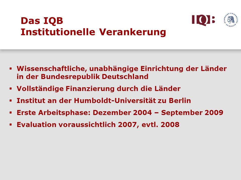 Das IQB Institutionelle Verankerung Wissenschaftliche, unabhängige Einrichtung der Länder in der Bundesrepublik Deutschland Vollständige Finanzierung