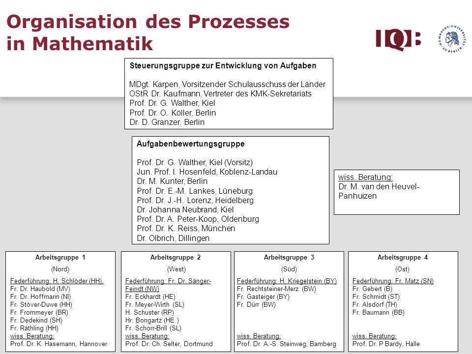 Organisation des Prozesses in Mathematik Steuerungsgruppe zur Entwicklung von Aufgaben MDgt. Karpen, Vorsitzender Schulausschuss der Länder OStR Dr. K