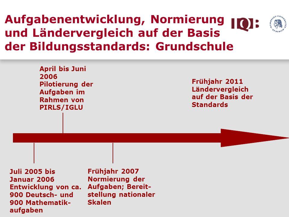 Aufgabenentwicklung, Normierung und Ländervergleich auf der Basis der Bildungsstandards: Grundschule Juli 2005 bis Januar 2006 Entwicklung von ca. 900