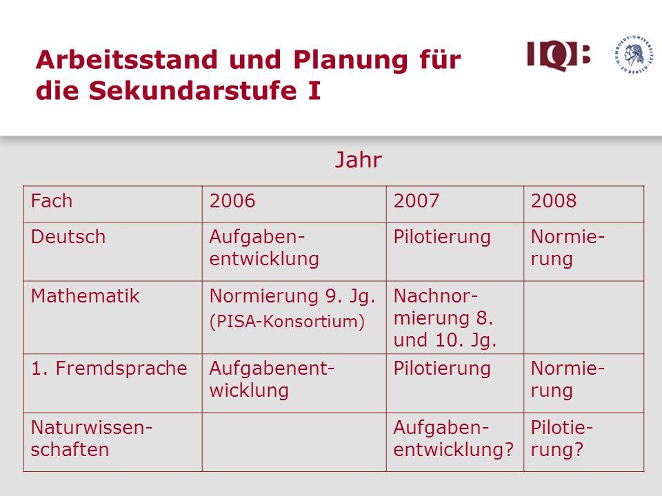 Arbeitsstand und Planung für die Sekundarstufe I Fach200620072008 DeutschAufgaben- entwicklung PilotierungNormie- rung MathematikNormierung 9. Jg. (PI