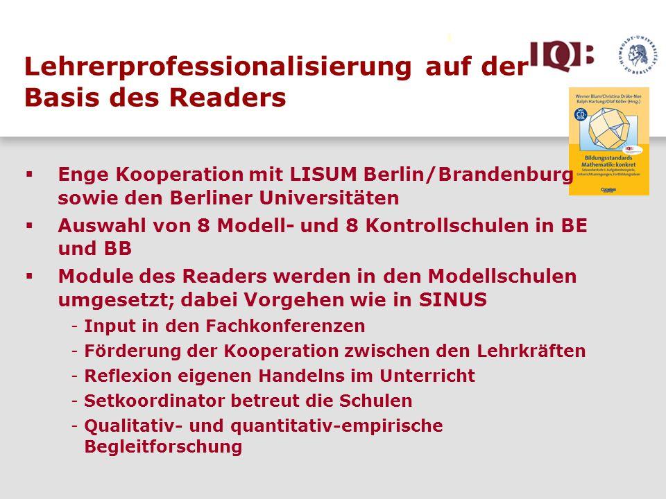 Lehrerprofessionalisierung auf der Basis des Readers Enge Kooperation mit LISUM Berlin/Brandenburg sowie den Berliner Universitäten Auswahl von 8 Mode
