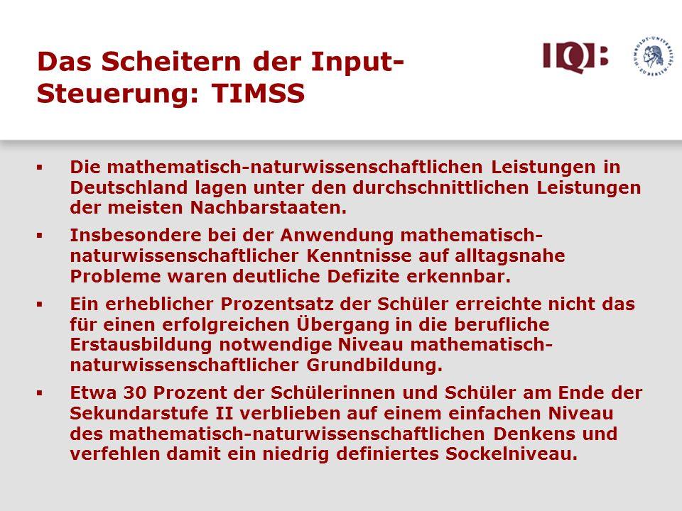 Die mathematisch-naturwissenschaftlichen Leistungen in Deutschland lagen unter den durchschnittlichen Leistungen der meisten Nachbarstaaten. Insbesond