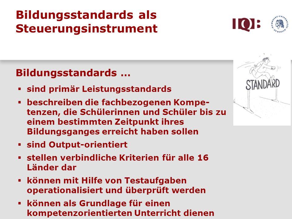 Aufgabenentwicklung, Normierung und Ländervergleich auf der Basis der Bildungsstandards: Grundschule Juli 2005 bis Januar 2006 Entwicklung von ca.