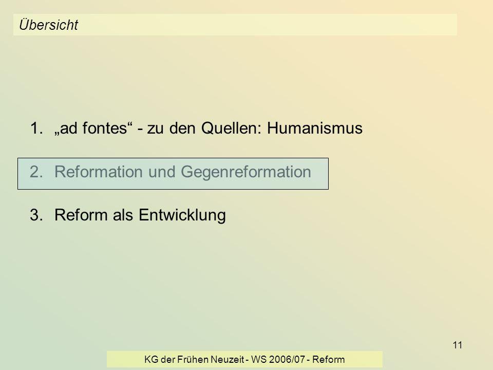 KG der Frühen Neuzeit - WS 2006/07 - Reform 11 Übersicht 1.ad fontes - zu den Quellen: Humanismus 2.Reformation und Gegenreformation 3.Reform als Entw