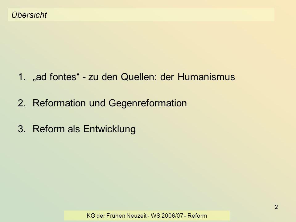 KG der Frühen Neuzeit - WS 2006/07 - Reform 2 Übersicht 1.ad fontes - zu den Quellen: der Humanismus 2.Reformation und Gegenreformation 3.Reform als E