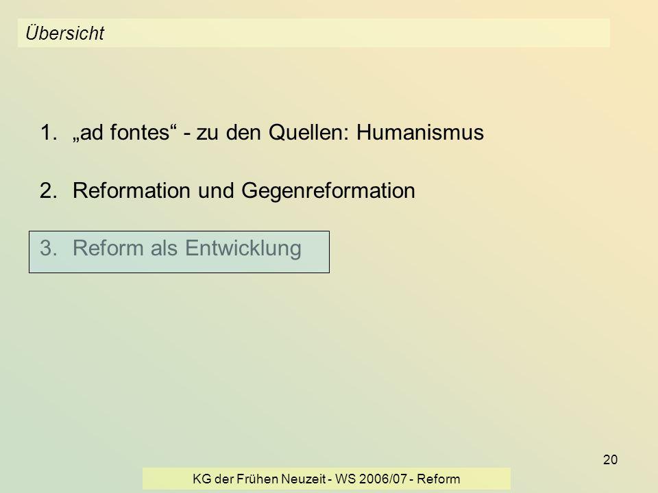 KG der Frühen Neuzeit - WS 2006/07 - Reform 20 Übersicht 1.ad fontes - zu den Quellen: Humanismus 2.Reformation und Gegenreformation 3.Reform als Entw