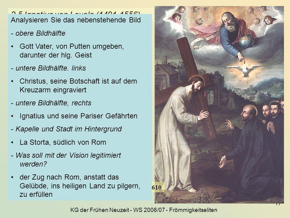 KG der Frühen Neuzeit - WS 2006/07 - Frömmigkeitseliten 17 2.5 Ignatius von Loyola (1491-1556) Gottvater empfiehlt Ignatius und seine Gefährten dem mi