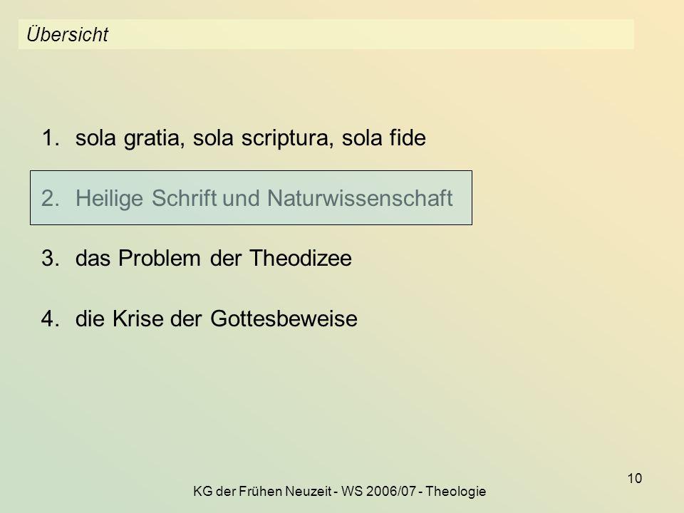 KG der Frühen Neuzeit - WS 2006/07 - Theologie 10 Übersicht 1.sola gratia, sola scriptura, sola fide 2.Heilige Schrift und Naturwissenschaft 3.das Pro