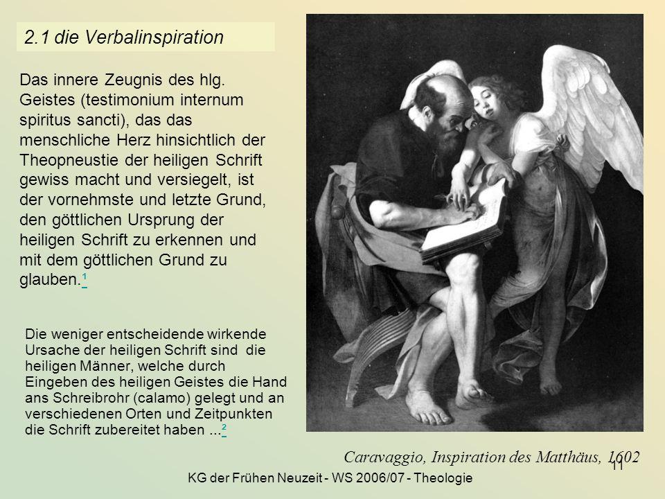 KG der Frühen Neuzeit - WS 2006/07 - Theologie 11 2.1 die Verbalinspiration Die weniger entscheidende wirkende Ursache der heiligen Schrift sind die h