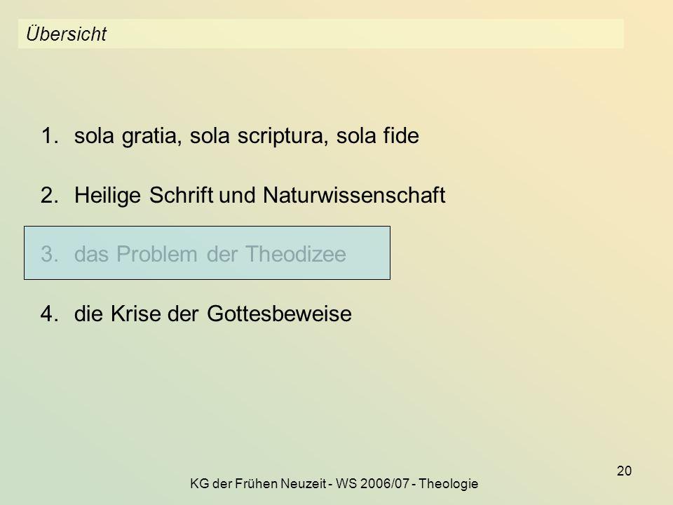KG der Frühen Neuzeit - WS 2006/07 - Theologie 20 Übersicht 1.sola gratia, sola scriptura, sola fide 2.Heilige Schrift und Naturwissenschaft 3.das Pro