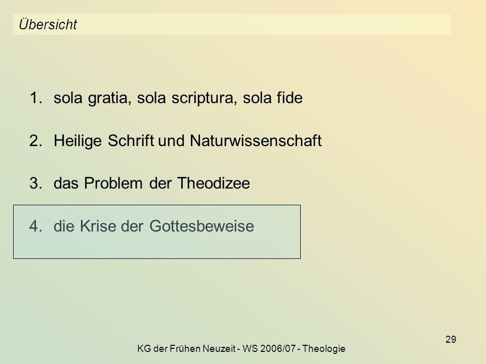 KG der Frühen Neuzeit - WS 2006/07 - Theologie 29 Übersicht 1.sola gratia, sola scriptura, sola fide 2.Heilige Schrift und Naturwissenschaft 3.das Pro