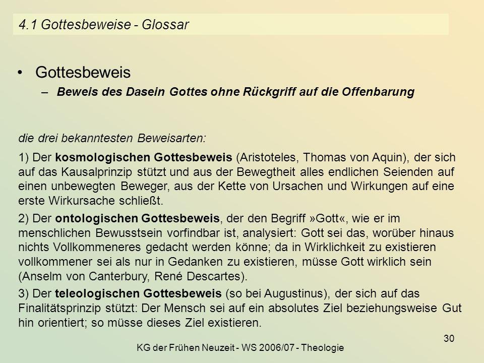 KG der Frühen Neuzeit - WS 2006/07 - Theologie 30 4.1 Gottesbeweise - Glossar Gottesbeweis –Beweis des Dasein Gottes ohne Rückgriff auf die Offenbarun