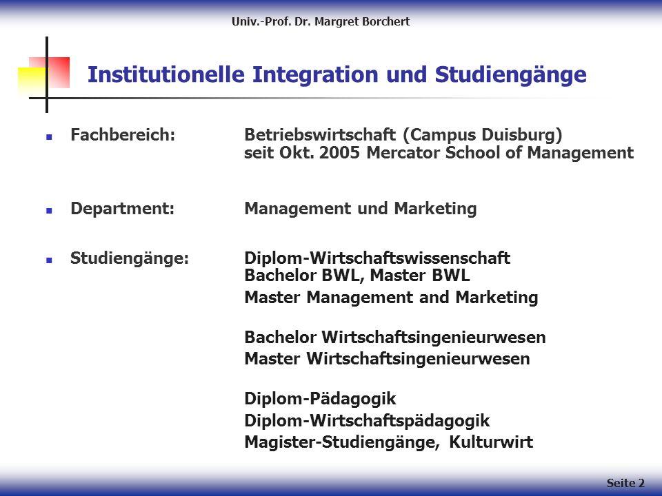 Seite 2 Institutionelle Integration und Studiengänge Fachbereich: Betriebswirtschaft (Campus Duisburg) seit Okt.