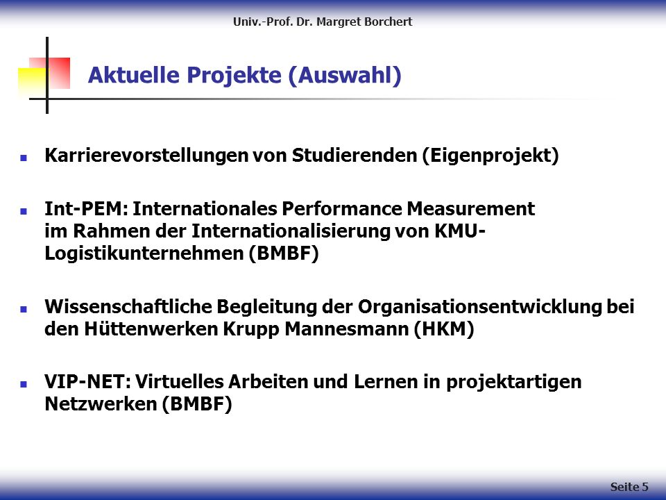 Univ.-Prof. Dr. Margret Borchert Seite 5 Aktuelle Projekte (Auswahl) Karrierevorstellungen von Studierenden (Eigenprojekt) Int-PEM: Internationales Pe