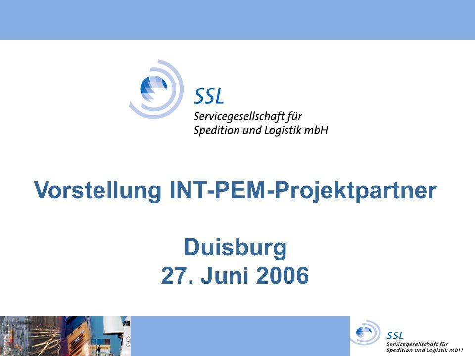 Vorstellung INT-PEM-Projektpartner Duisburg 27. Juni 2006