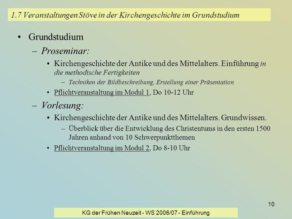 KG der Frühen Neuzeit - WS 2006/07 - Einführung 10 1.7 Veranstaltungen Stöve in der Kirchengeschichte im Grundstudium Grundstudium –Proseminar: Kirche