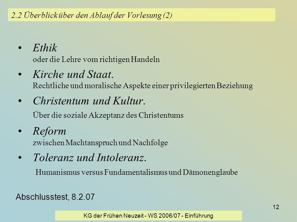 KG der Frühen Neuzeit - WS 2006/07 - Einführung 12 2.2 Überblick über den Ablauf der Vorlesung (2) Ethik oder die Lehre vom richtigen Handeln Kirche u