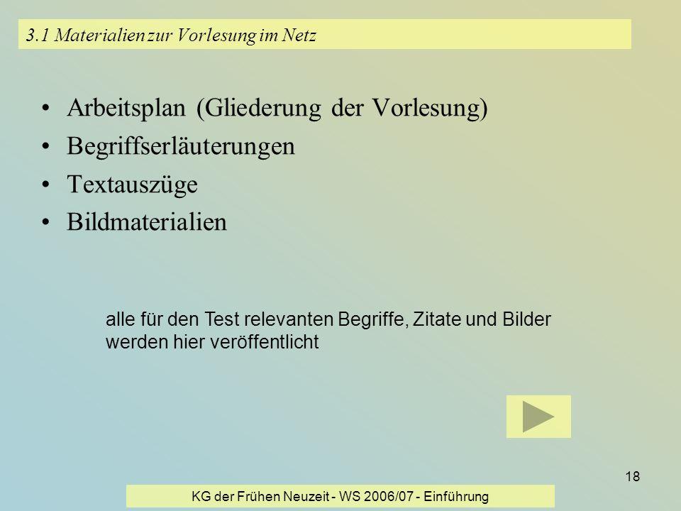 KG der Frühen Neuzeit - WS 2006/07 - Einführung 18 3.1 Materialien zur Vorlesung im Netz Arbeitsplan (Gliederung der Vorlesung) Begriffserläuterungen