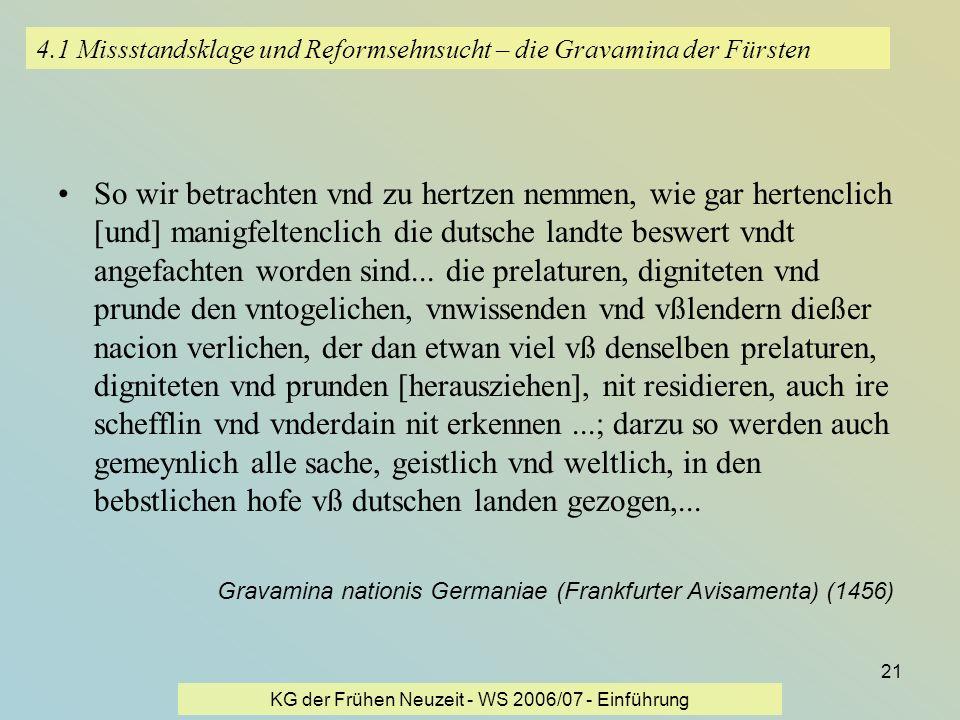KG der Frühen Neuzeit - WS 2006/07 - Einführung 21 4.1 Missstandsklage und Reformsehnsucht – die Gravamina der Fürsten So wir betrachten vnd zu hertze