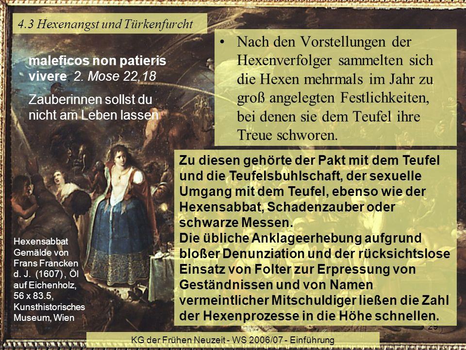 KG der Frühen Neuzeit - WS 2006/07 - Einführung 29 4.3 Hexenangst und Türkenfurcht Nach den Vorstellungen der Hexenverfolger sammelten sich die Hexen