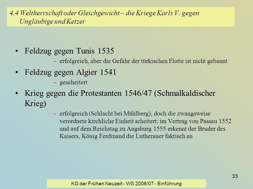 KG der Frühen Neuzeit - WS 2006/07 - Einführung 33 4.4 Weltherrschaft oder Gleichgewicht – die Kriege Karls V. gegen Ungläubige und Ketzer Feldzug geg