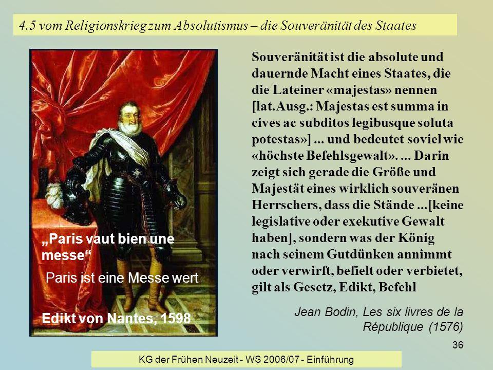 KG der Frühen Neuzeit - WS 2006/07 - Einführung 36 4.5 vom Religionskrieg zum Absolutismus – die Souveränität des Staates Souveränität ist die absolut