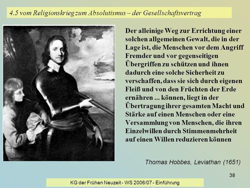 KG der Frühen Neuzeit - WS 2006/07 - Einführung 38 4.5 vom Religionskrieg zum Absolutismus – der Gesellschaftsvertrag Der alleinige Weg zur Errichtung
