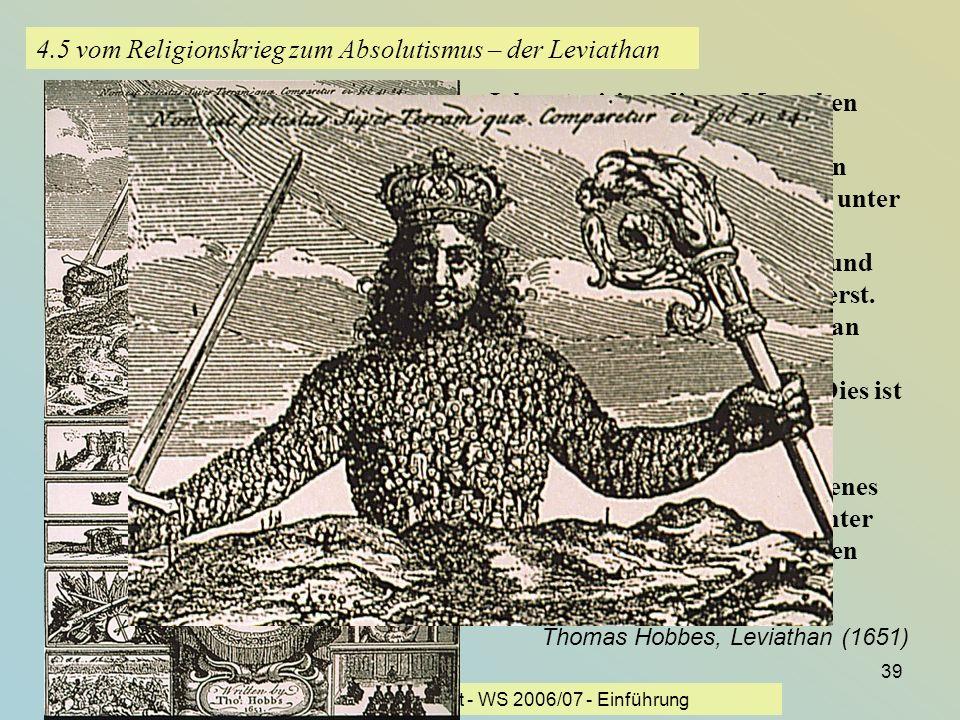 KG der Frühen Neuzeit - WS 2006/07 - Einführung 39 4.5 vom Religionskrieg zum Absolutismus – der Leviathan Ich autorisiere diesen Menschen oder diese