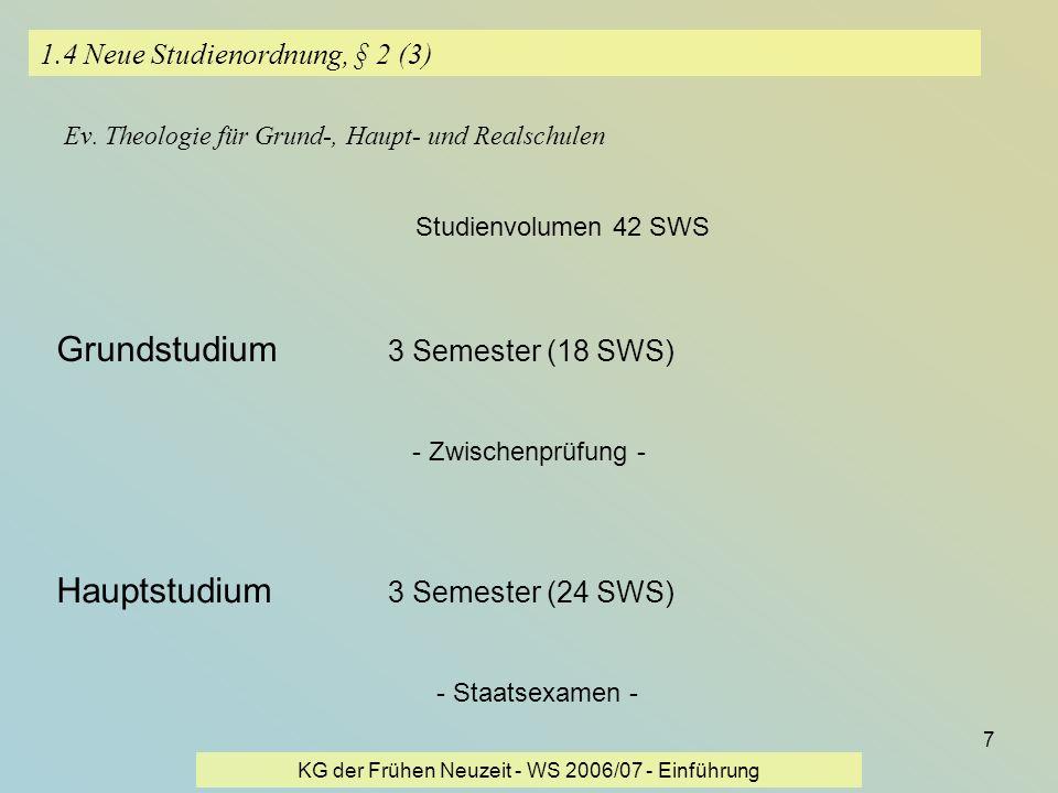 KG der Frühen Neuzeit - WS 2006/07 - Einführung 7 1.4 Neue Studienordnung, § 2 (3) Ev. Theologie für Grund-, Haupt- und Realschulen Studienvolumen 42