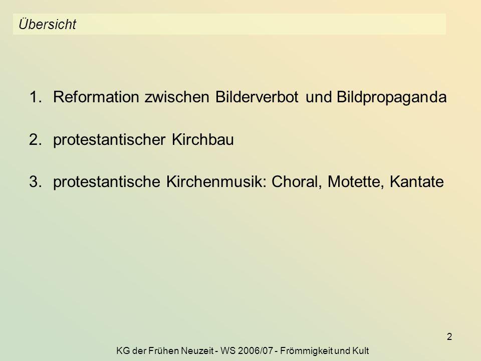 KG der Frühen Neuzeit - WS 2006/07 - Frömmigkeit und Kult 2 Übersicht 1.Reformation zwischen Bilderverbot und Bildpropaganda 2.protestantischer Kirchb