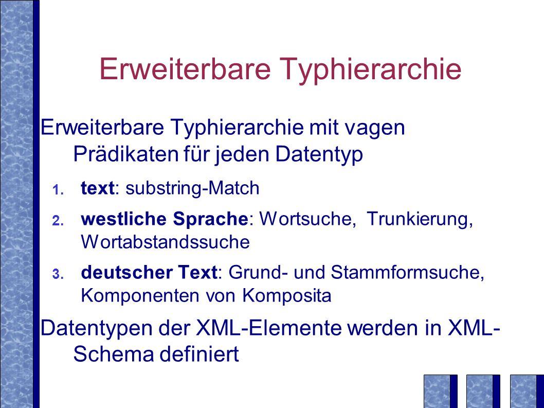 Erweiterbare Typhierarchie Erweiterbare Typhierarchie mit vagen Prädikaten für jeden Datentyp 1.