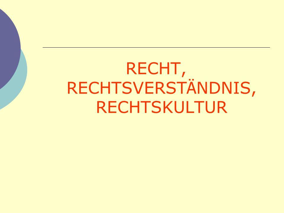 RECHT, RECHTSVERST Ä NDNIS, RECHTSKULTUR