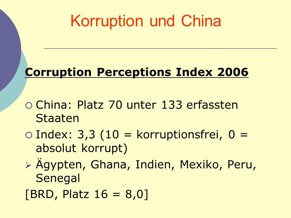 Korruption und China Corruption Perceptions Index 2006 China: Platz 70 unter 133 erfassten Staaten Index: 3,3 (10 = korruptionsfrei, 0 = absolut korru