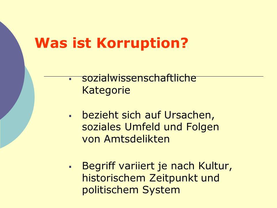 Was ist Korruption? sozialwissenschaftliche Kategorie bezieht sich auf Ursachen, soziales Umfeld und Folgen von Amtsdelikten Begriff variiert je nach