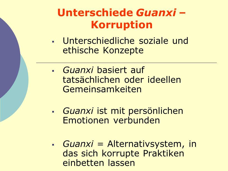 Unterschiede Guanxi – Korruption Unterschiedliche soziale und ethische Konzepte Guanxi basiert auf tatsächlichen oder ideellen Gemeinsamkeiten Guanxi