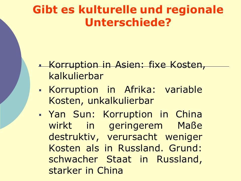 Gibt es kulturelle und regionale Unterschiede? Korruption in Asien: fixe Kosten, kalkulierbar Korruption in Afrika: variable Kosten, unkalkulierbar Ya