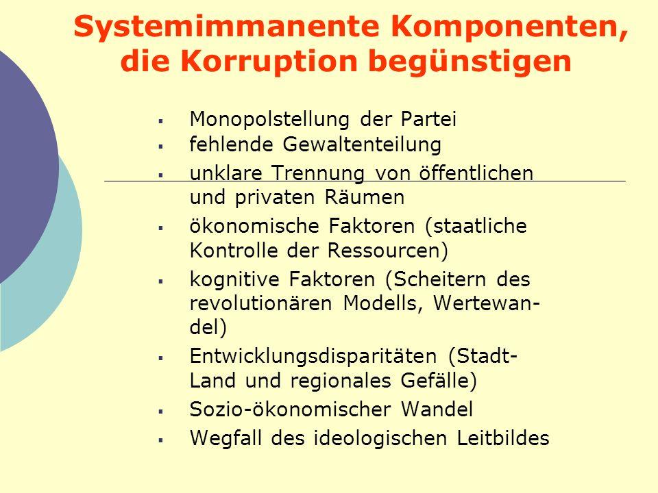 Systemimmanente Komponenten, die Korruption begünstigen Monopolstellung der Partei fehlende Gewaltenteilung unklare Trennung von öffentlichen und priv