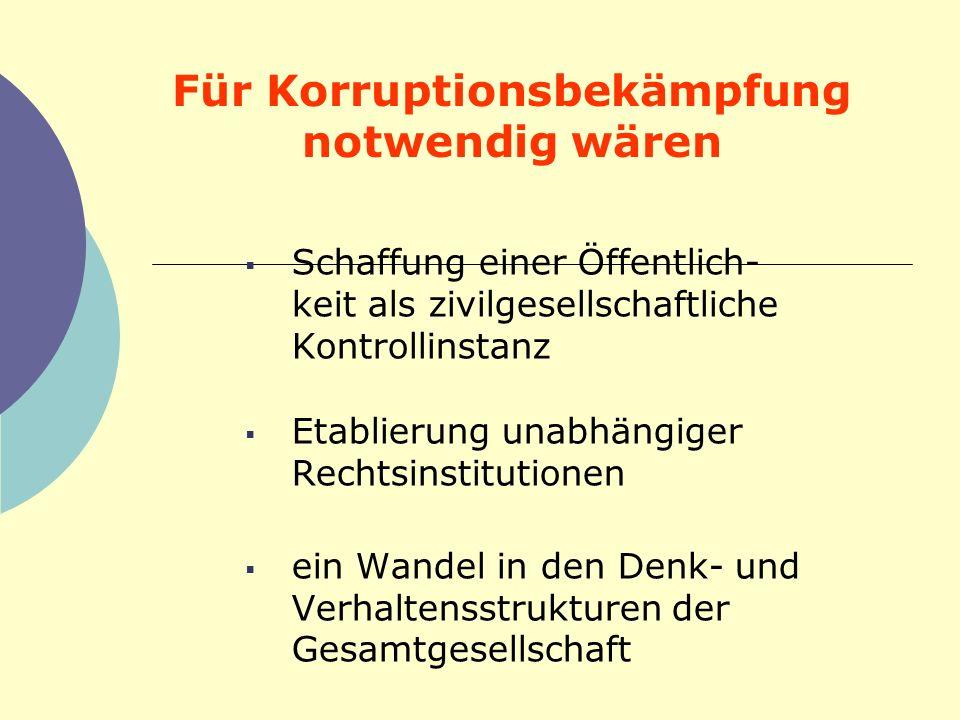 Für Korruptionsbekämpfung notwendig wären Schaffung einer Öffentlich- keit als zivilgesellschaftliche Kontrollinstanz Etablierung unabhängiger Rechtsi