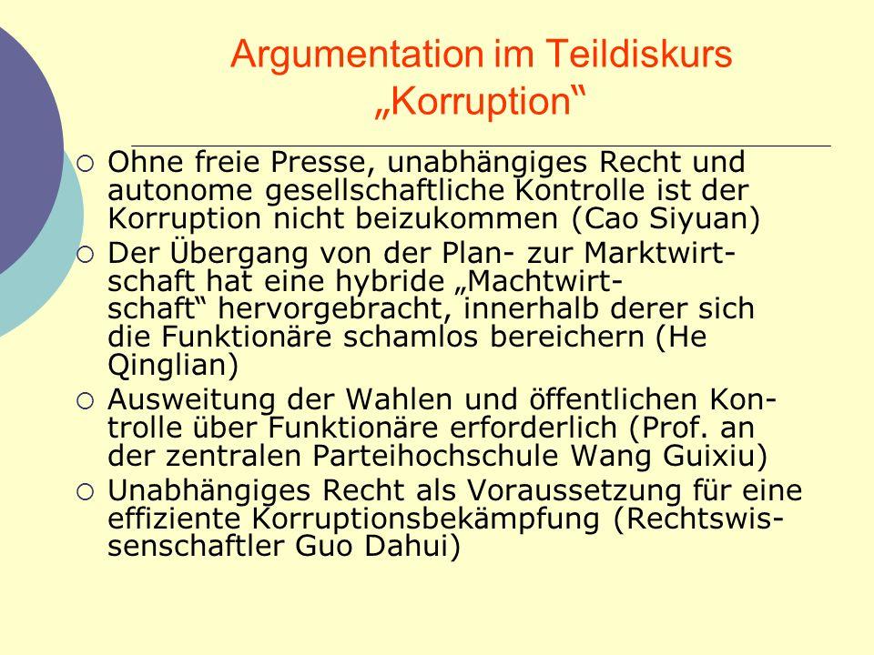 Argumentation im Teildiskurs Korruption Ohne freie Presse, unabh ä ngiges Recht und autonome gesellschaftliche Kontrolle ist der Korruption nicht beiz